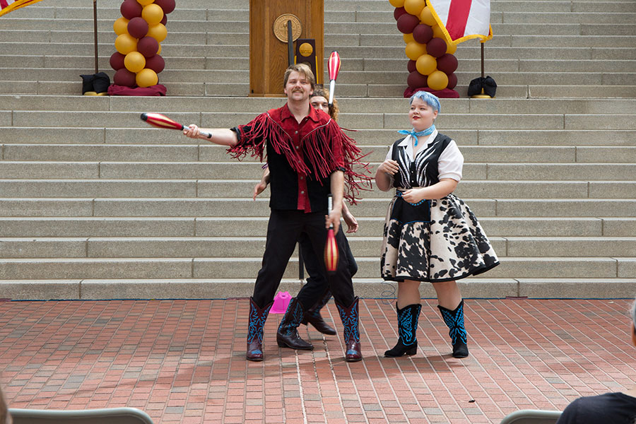 FSU Flying High Circus performers entertain the crowd at FSU Day at the Capitol April 9, 2019. (FSU Photography Services)