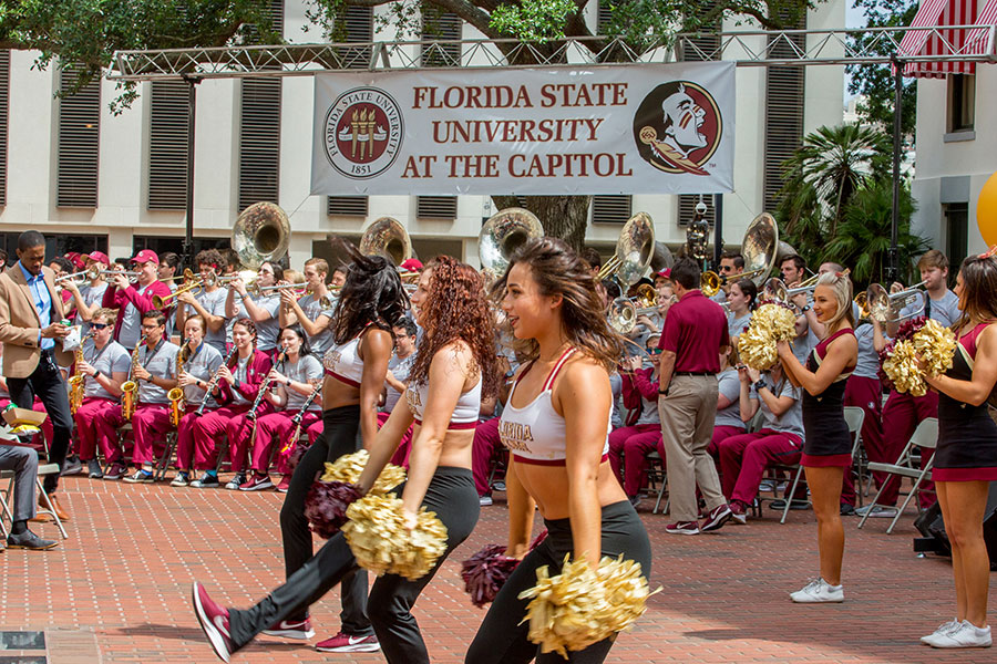 The Seminole Sound and FSU Cheerleaders perform at FSU Day at the Capitol April 9, 2019. (FSU Photography Services)