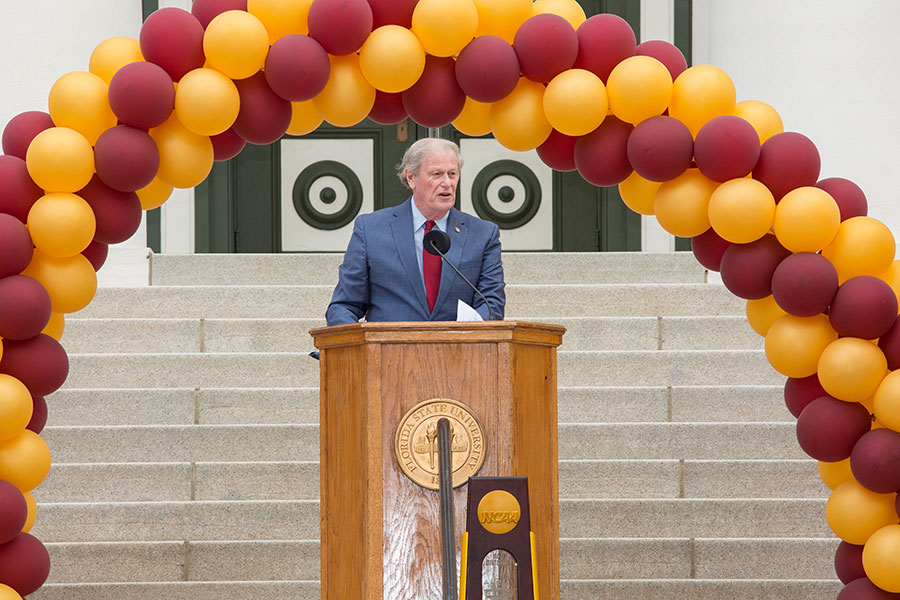 President John Thrasher speaks at FSU Day at the Capitol April 9, 2019. (FSU Photography Services)