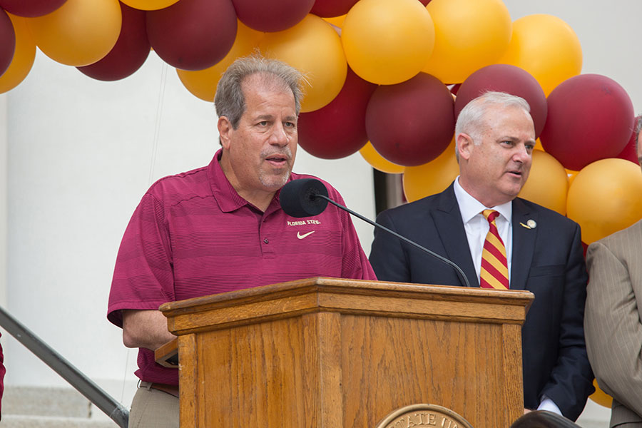 FSU soccer coach Mark Krikorian speaks at FSU Day at the Capitol April 9, 2019. (FSU Photography Services)