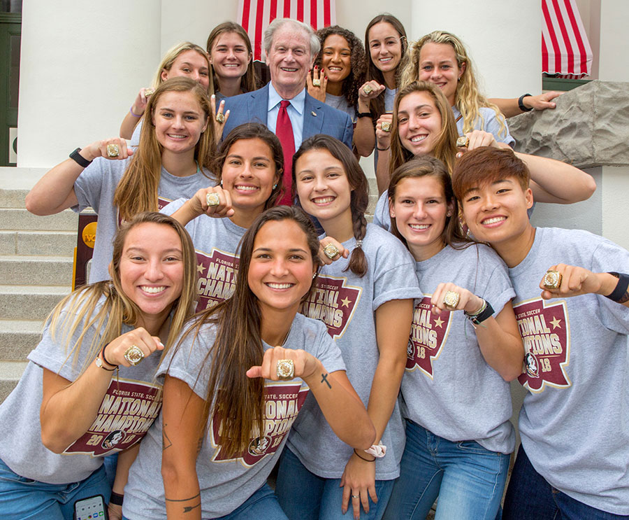 The FSU women's soccer team is honored during FSU Day at the Capitol April 9, 2019. (FSU Photography Services)