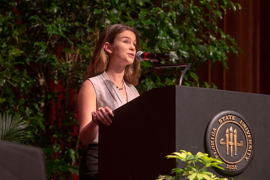 Senior Class Council President Sheridan Hager speaks at the annual President's Ring Ceremony April 18, 2019. (FSU Photography Services)