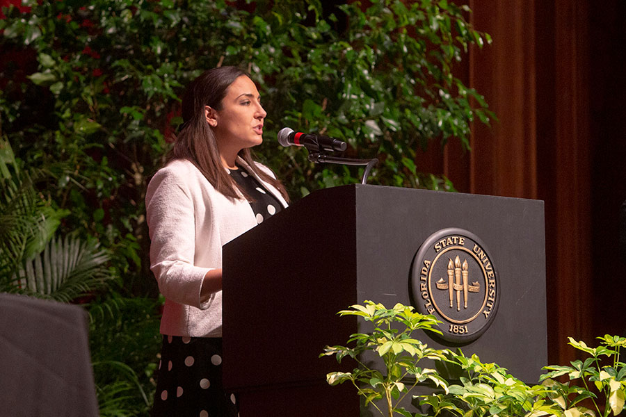 Interim Vice President for Student Affairs speaks at the annual President's Ring Ceremony April 18, 2019. (FSU Photography Services)