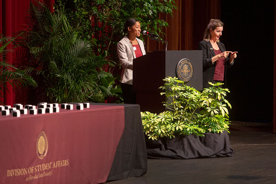 Student Alumni Association President Jalaycia Lewis speaks at the annual President's Ring Ceremony April 18, 2019. (FSU Photography Services)