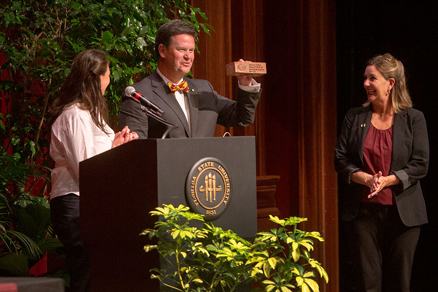 Tallahassee Mayor John Dailey speaks during the annual President's Ring Ceremony April 18, 2019. (FSU Photography Services)
