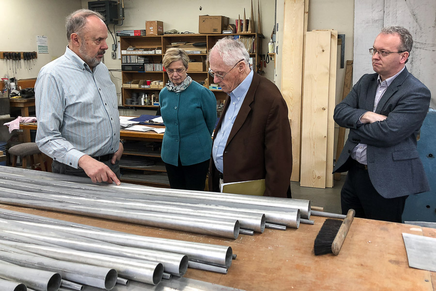 Paul Fritts gives a tour of his workshop in Tacoma, Washington. (L-R) Paul Fritts; Patricia Flowers, dean of the College of Music; donor Charles Rockwood; Iain Quinn, assistant professor of organ. (Photo: Jayme Agee)