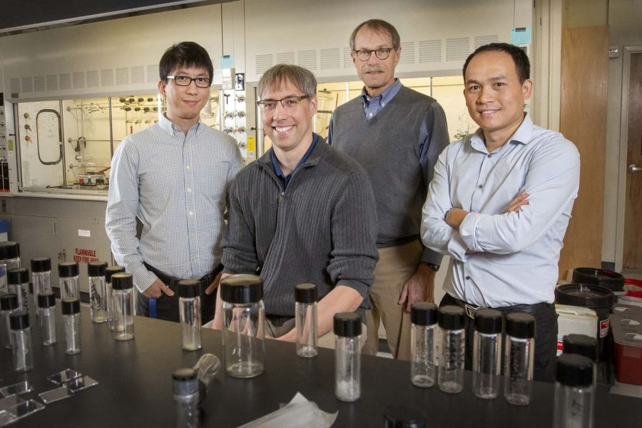 From left to right: Hanwei Gao, Kenneth Hanson, Ross Ellington and Biwu Ma. With instrumental support and guidance provided by Ellington, the three early-career scientists have made waves internationally for their cutting-edge research. (FSU Photography Services)