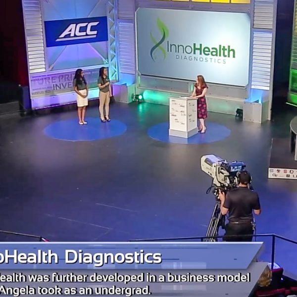 FSU's Nkechi Emetuche and Angela Udongwo pitch their business InnoHealth Diagnostics to a panel of judges during the 2019 ACC InVenture Prize competition in Raleigh, North Carolina. (Georgia Public Broadcasting)