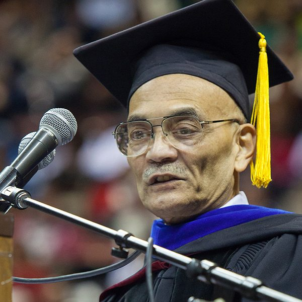 Robert O. Lawton Distinguished Professor Shridhar Sathe spoke at FSU New Student Convocation in 2013.