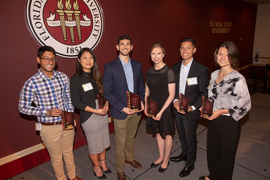 2019 FSU Student Employee of the Year awards winners (from left): Ankit Patel, Lindsey Reyes, Tyler Bruefach, Abigail Centers, Denis Aleman, Taegan Dennis.