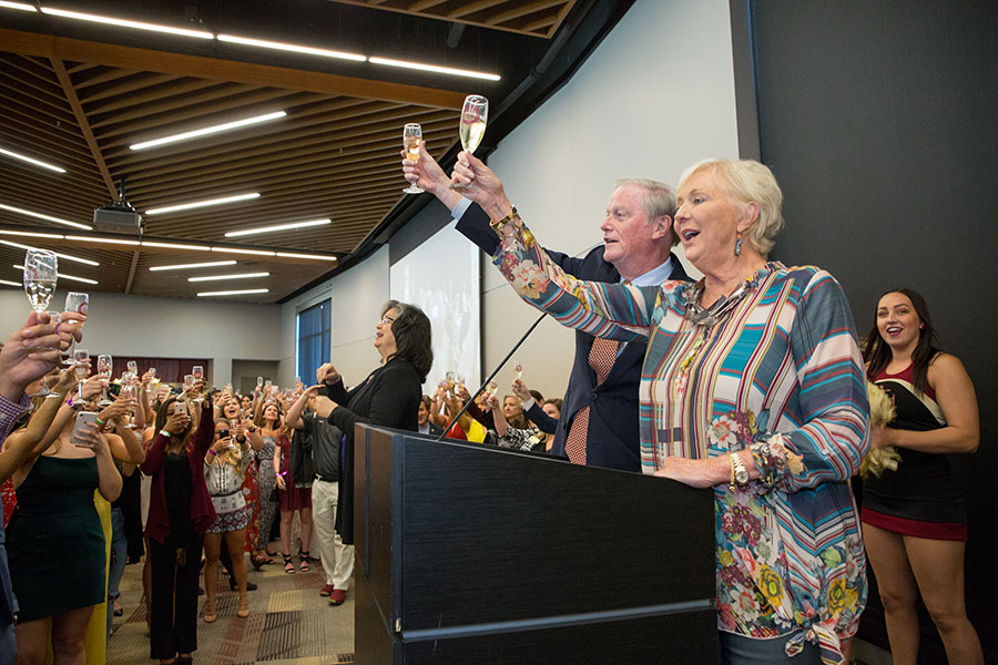 FSU President John Thrasher and First Lady Jean Thrasher raise their glasses in a toast to the graduating Class of 2019. (FSU Photography Services)
