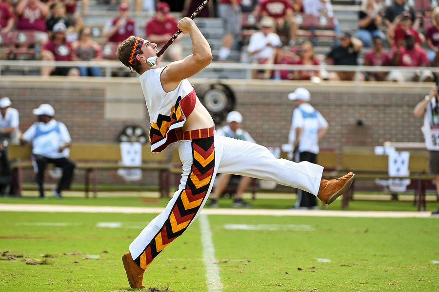Alex Arbeiter is the head drum major for the Marching Chiefs. (Photo: Melina Myers)