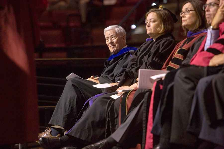 """President Emeritus Talbot """"Sandy"""" D'Alemberte looks on during the College of Law's spring commencement ceremony in May 2018. (FSU Photography Services)"""