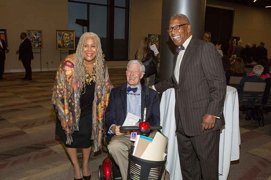 President Emeritus Sandy D'Alemberte with Doby Flowers and Fred Flowers at the launch of FSU's new Civil Rights Institute Nov. 1, 2018. (FSU Photography Services)