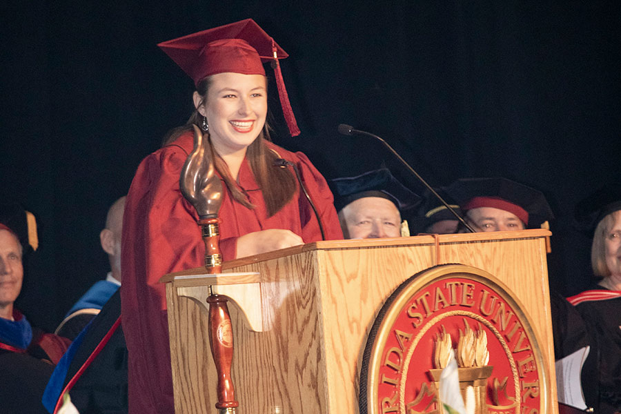 Justine Powell, FSU Panama City student body president, speaks during commencement Sunday, May 5, 2019.