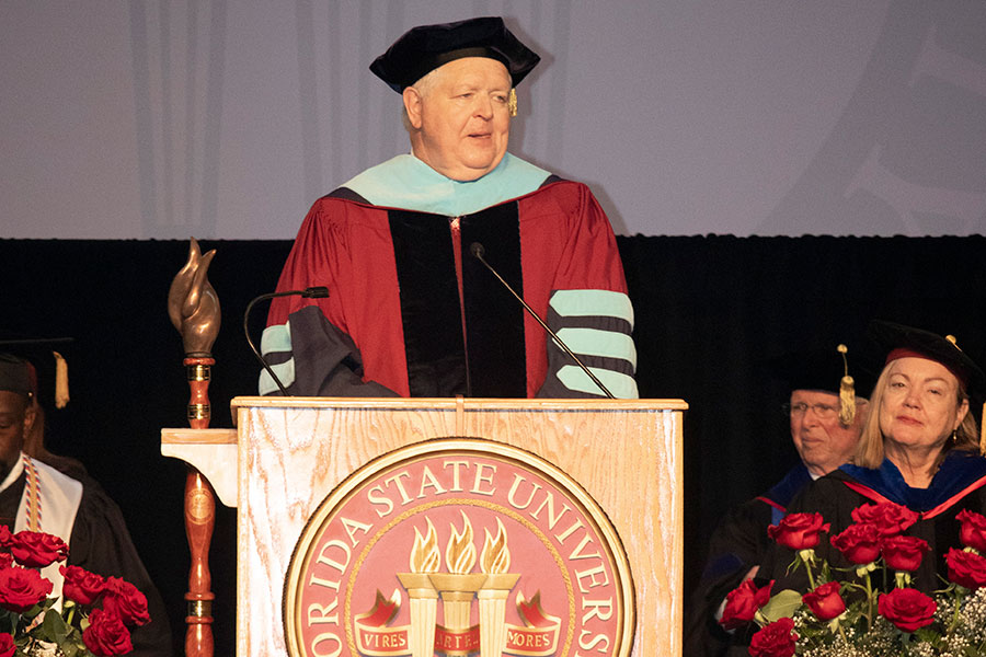 Dean Randy Hanna speaks during FSU Panama City's commencement Sunday, May 5, 2019.