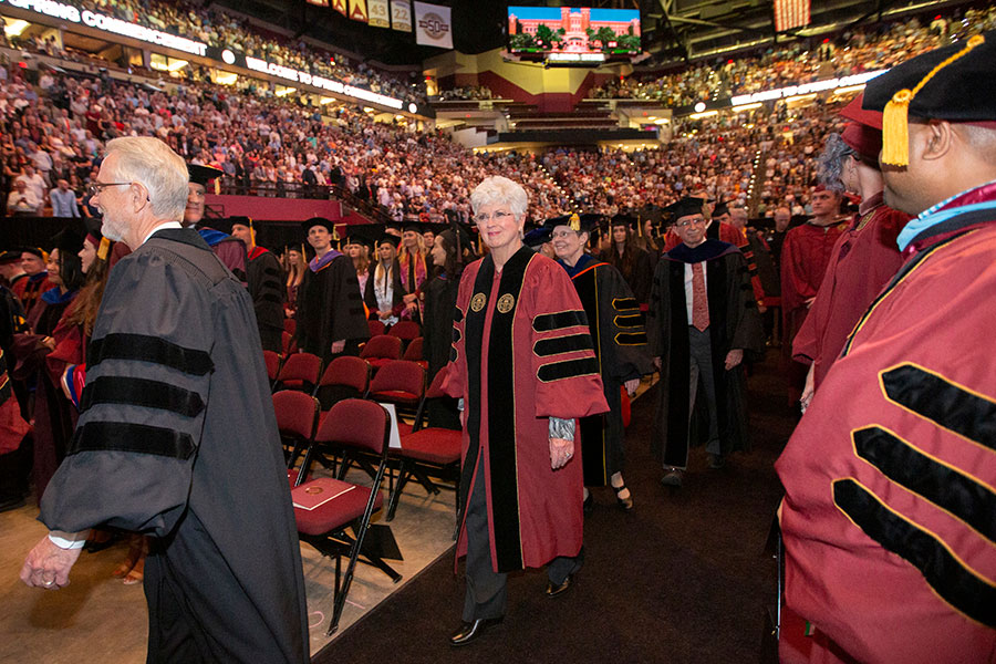 Jan Moran participated in Friday evening's ceremony, which included the first graduating class from the Jim Moran School of Entrepreneurship. (FSU Photography Services)