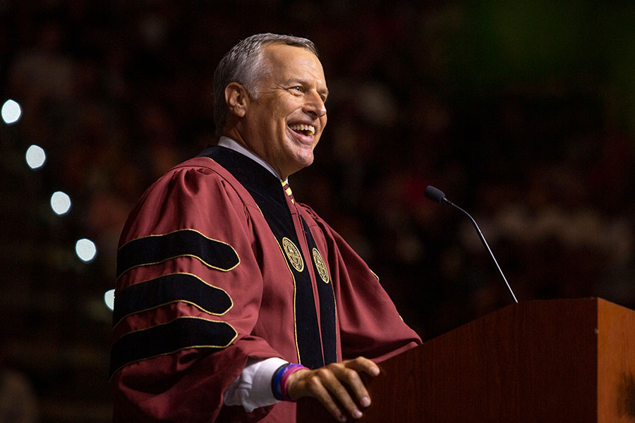 John W. Thiel was the keynote speaker at Florida State's Friday evening commencement ceremony, May 3.