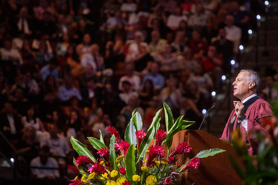 FSU alumnus John W. Thiel was the keynote speaker at Florida State's Friday evening commencement ceremony, May 3.