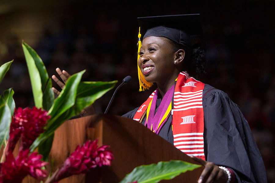 Outgoing Student Government Association President Stacey Pierre speaks to members of the 2019 spring graduating class. (FSU Photography Services)