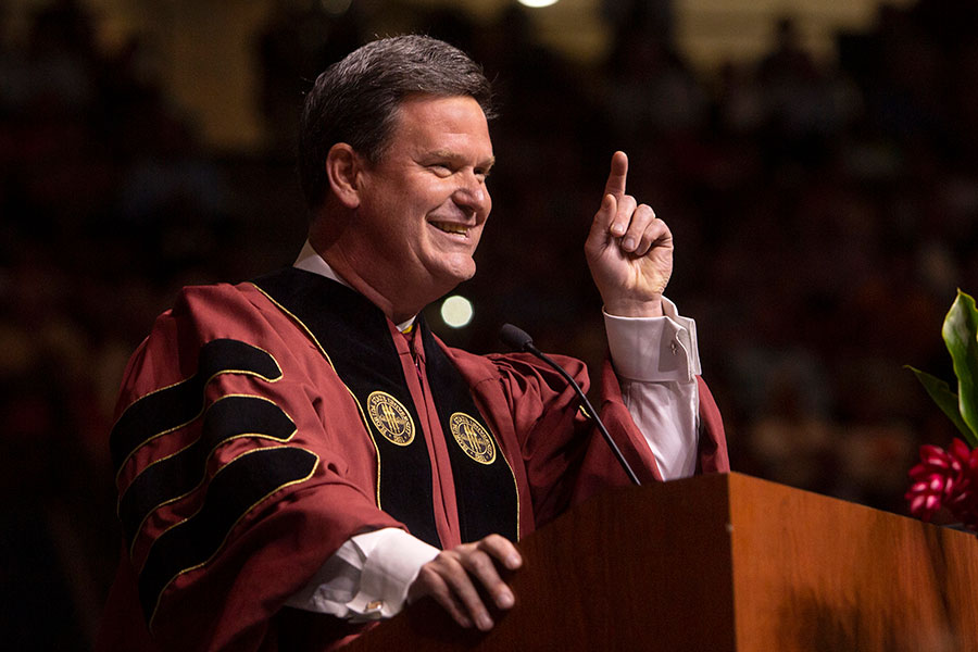 Tallahassee Mayor and FSU alumnus John Dailey was the featured speaker at Friday afternoon's 2019 spring commencement ceremony. (FSU Photography Services)