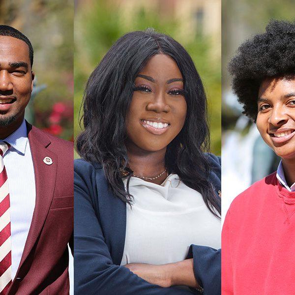 Florida State University's 2019 Humanity in Action fellowship winners Brandon Brown, Saleshia Ellis and Kiara Gilbert.