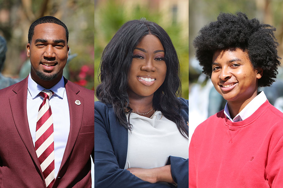 Florida State University's 2019 Humanity in Action fellowship winners Brandon Brown, Saleshia Ellis and Kiara Gilbert.