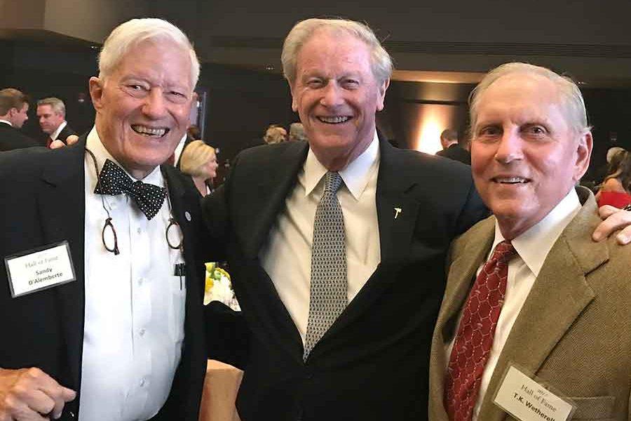 Three Florida State presidents: President Emeritus Sandy D'Alemberte, President John Thrasher and President Emeritus T.K. Wetherell at an event in 2017.