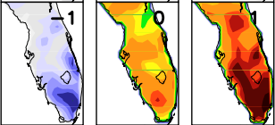 The evolution of wet season rainfall (mm/day) shown one day before, day of onset and one day after onset over peninsular Florida, a region with robust seasonal cycle. A better understanding of these types of climate processes could aid state utilities as they seek to make optimum decisions about water resource allocation.