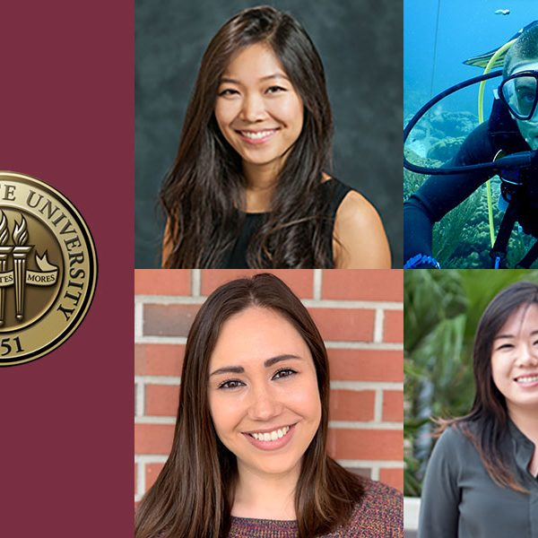 FSU's 2019 NSF Graduate Research Fellowship winners. From left: (top) Lyndsey Chong, Ethan Cissell, (bottom) Victoria Posey and Eileen Kyoung Chun.