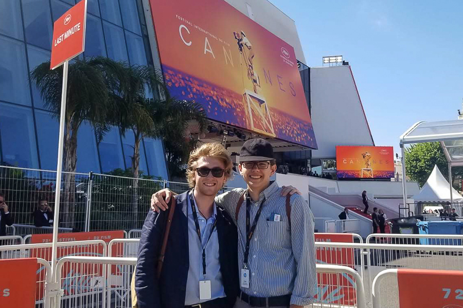 "FSU film students William Stead (left) and Evan Barber are in France attending the 2019 Cannes Film Festival. They were invited to screen their film ""The Flip Side."""