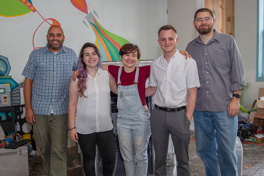 Left to right: Assistant Professor Rob Duarte, Ashley Chase, Reona Woods, Dillon Gleeson and Associate Professor Jonathan Clark.