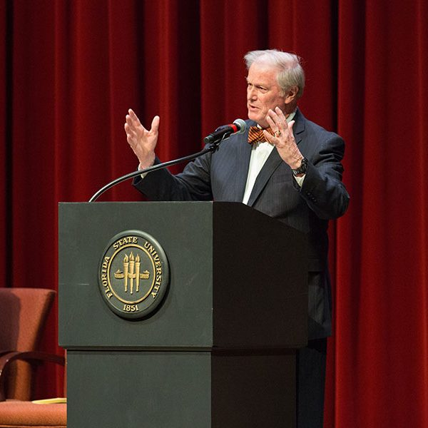 FSU President John Thrasher shares his remembrances of Sandy D'Alemberte during a Celebration of Life service Wednesday, June 5, 2019, at Ruby Diamond Concert Hall. (FSU Photography Services)
