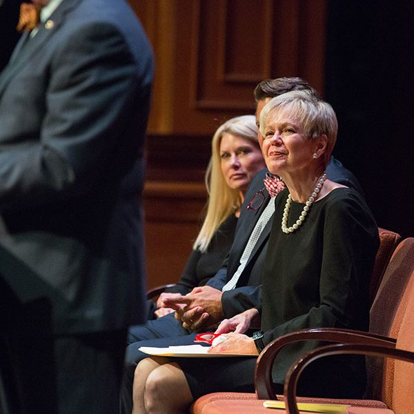 Patsy Palmer looks on during Thrasher's remarks at the Celebration of Life service for Sandy D'Alemberte Wednesday, June 5, 2019. (FSU Photography Services)