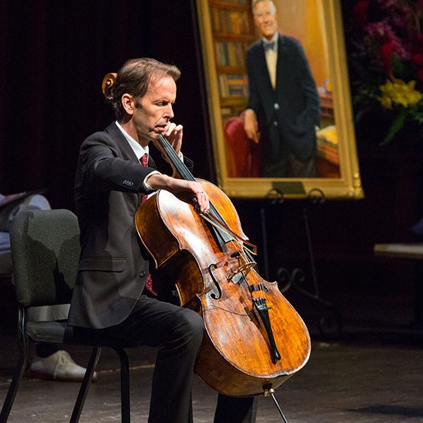 FSU Professor of Cello performs during the Celebration of Life service for Sandy D'Alemberte Wednesday, June 5, 2019. (FSU Photography Services)