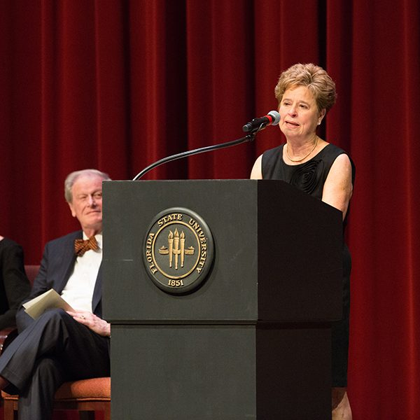 Martha Barnett remembers her friend and colleague Sandy D'Alemberte during the Celebration of Life service Wednesday, June 5, 2019. (FSU Photography Services)