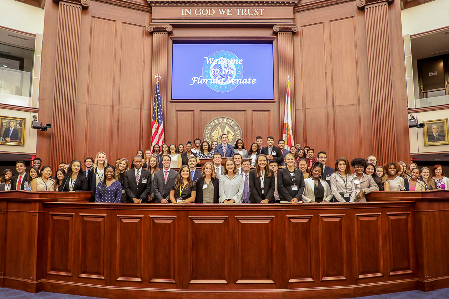 Participants in the Donald J. Weidner Summer for Undergraduates Program got a glimpse of the Florida Senate Chamber during their tour of the state Capitol.