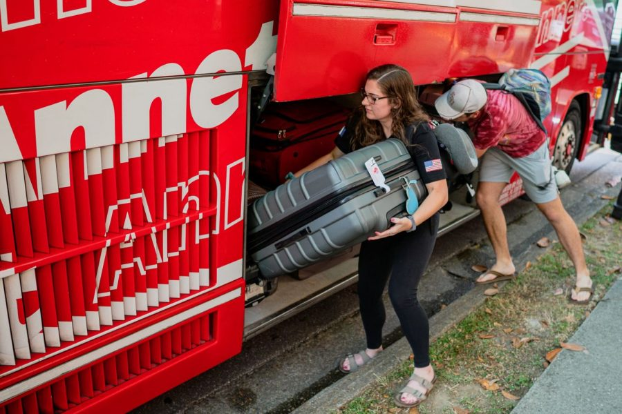 One contingent of the Marching Chiefs boarded buses outside FSU's Kuersteiner Music Building before traveling to Atlanta for a nonstop flight to Paris. Nearly 400 band members traveled to France to help commemorate the 75th anniversary of D-Day. (June 3, 2019)