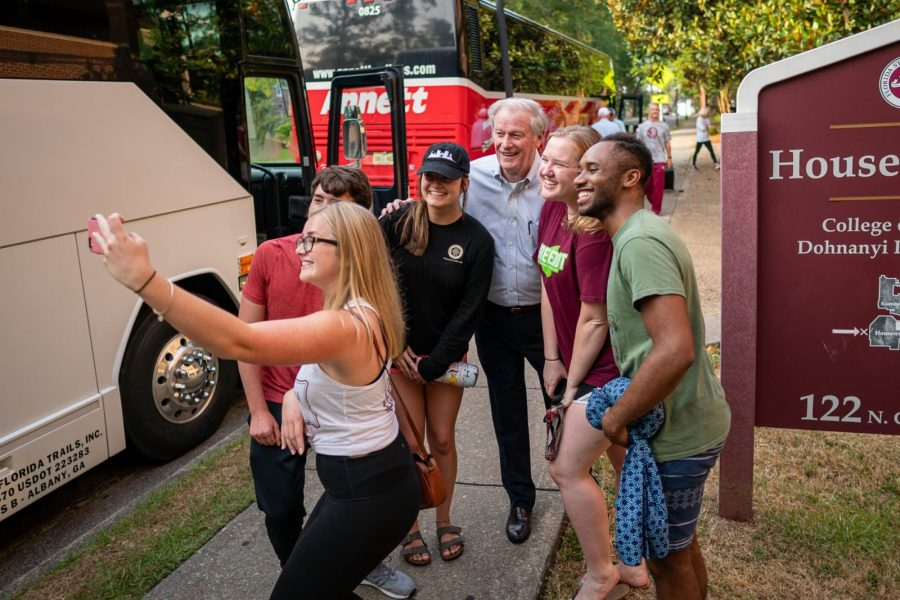 FSU President John Thrasher met with members of the Marching Chiefs on campus and wished them well before they traveled to Atlanta for a nonstop flight to Paris. Nearly 400 band members traveled to France to help commemorate the 75th anniversary of D-Day. (June 3, 2019)