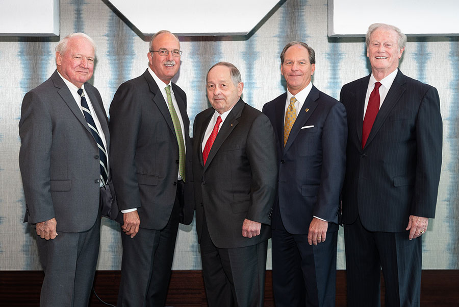 Billy Boles (North Carolina State '61); Mike Watford, (Florida '75); Gary Dudley (Sam Houston State '69); Thomas Bené (Kansas '84); and John Thrasher (Florida State '65) are recognized with Sigma Phi Epsilon fraternity's highest professional honor.