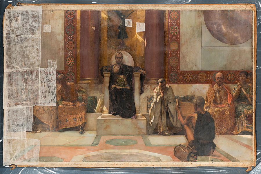 "The Ringling has received a grant from the Getty Foundation to support a major conservation treatment of the museum's monumental ""Emperor Justinian,"" an oil on canvas artwork painted by Jean-Joseph Benjamin-Constant. (The Ringling)"