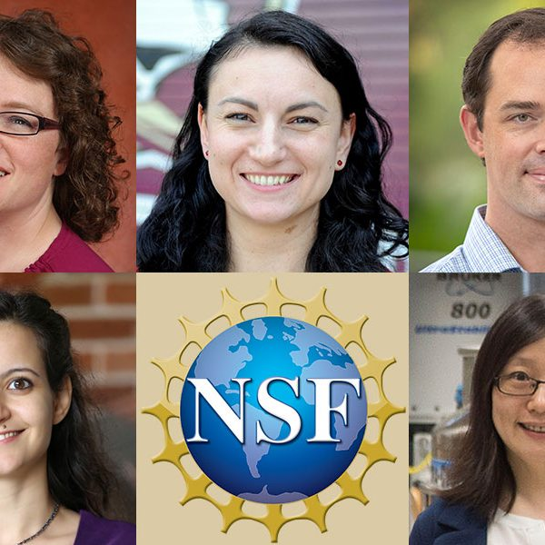 FSU's 2019 National Science Foundation CAREER awards winners. Top row: Christianne Beekman, Sonia Haiduc, Christopher Holmes. Bottom row: Lama Jaber and Yan Yan Hu.