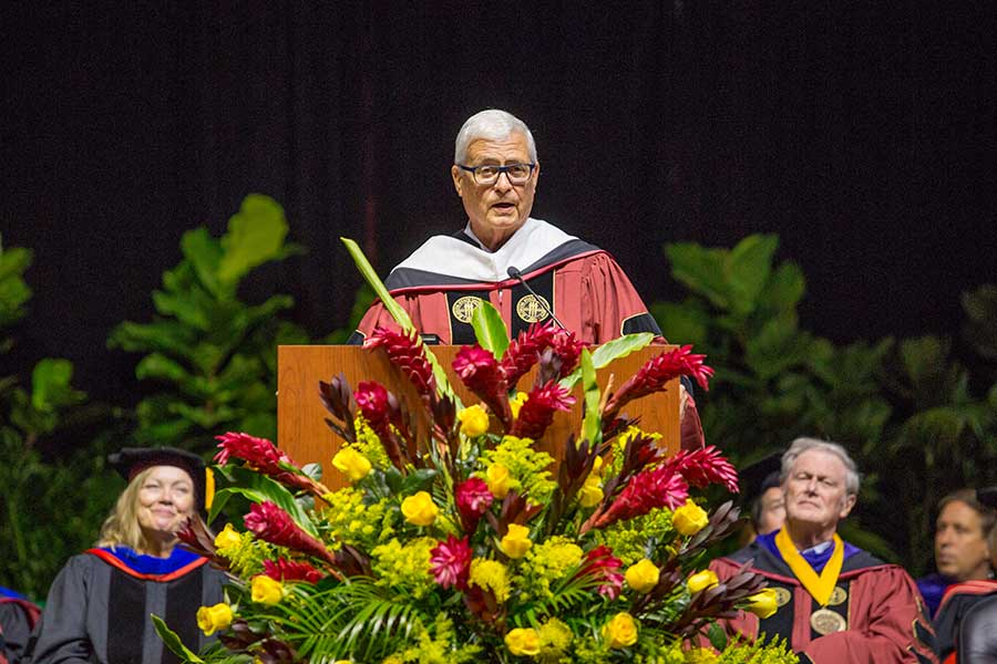 Speaker Allan Bense addresses graduates during Florida State's summer commencement ceremony Friday, Aug. 2, 2019. (FSU Photography Services)