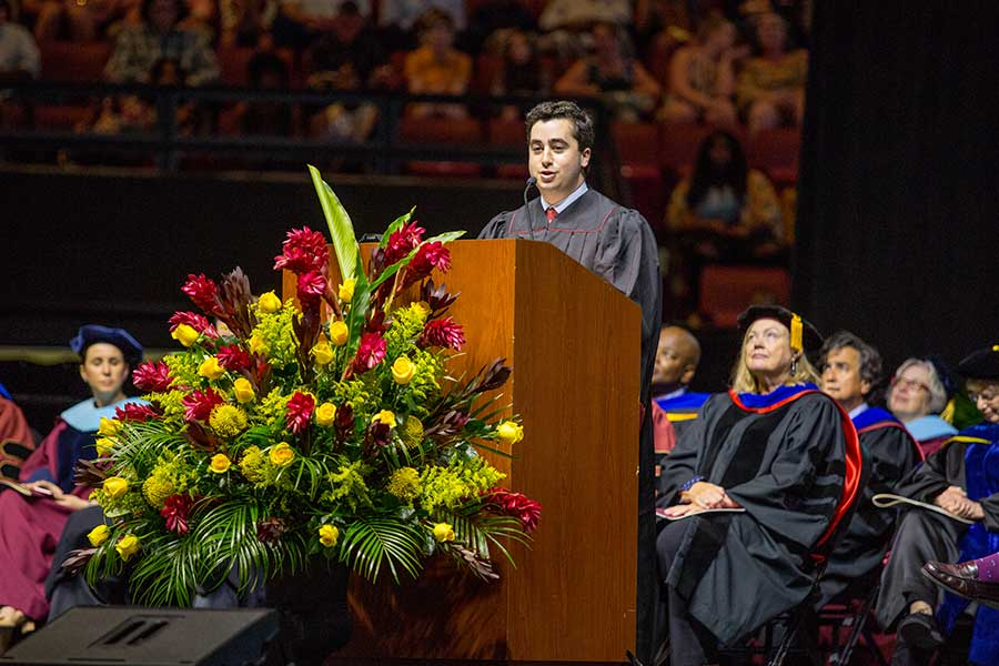 Evan Steinberg, FSU Student Body President, provides the welcome at Florida State University summer commencement Friday, Aug. 2, and Saturday, Aug. 3, 2019, at the Donald L. Tucker Civic Center. (FSU Photography Services)
