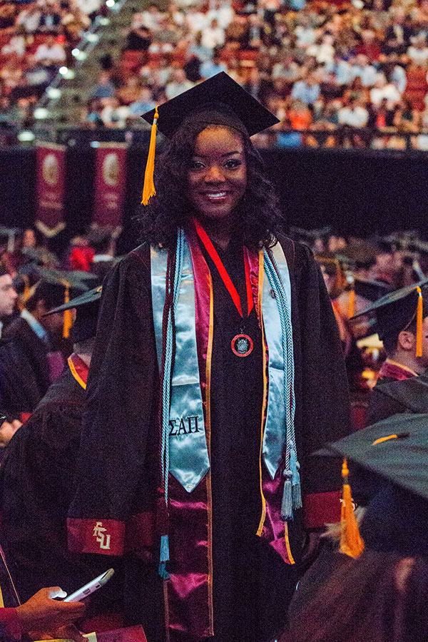 Jatia' Harris graduated magna cum laude with degrees in sociology and criminology during Saturday's summer commencement ceremony. (FSU Photography Services)