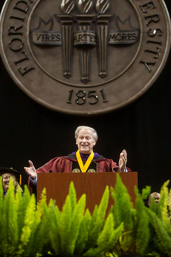FSU President John Thrasher offers closing remarks at New Student Convocation Sunday, Aug. 25, 2019, at the Donald L. Tucker Civic Center. (FSU Photography Services)