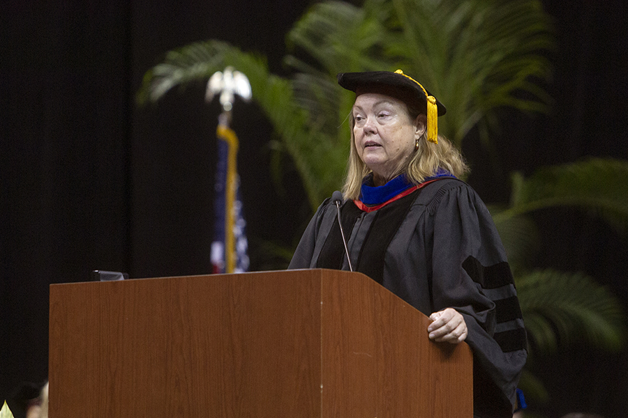 Provost and Executive Vice President Sally McRorie offers opening remarks during New Student Convocation Sunday, Aug. 25, 2019, at the Donald L. Tucker Civic Center. (FSU Photography Services)