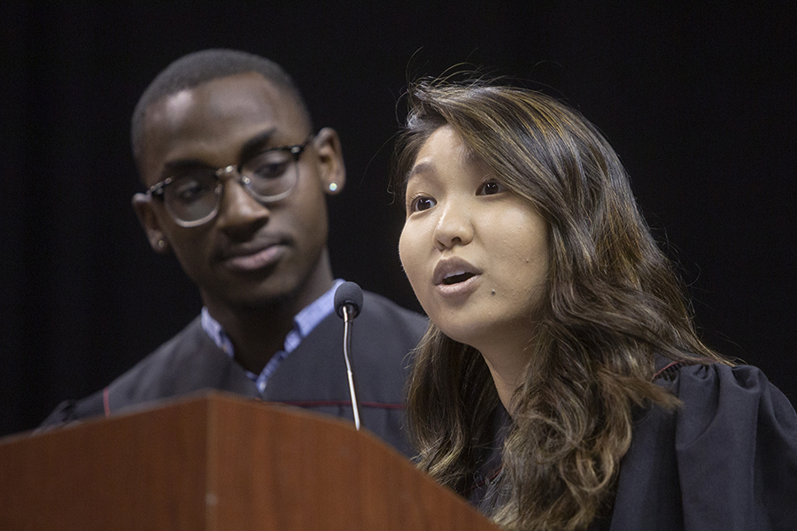 SGA Vice President Stephanie Lee and SA Treasurer Caleb Dawkins introduced Pamela Perrewe at New Student Convocation Sunday, Aug. 25, 2019, at the Donald L. Tucker Civic Center. (FSU Photography Services)