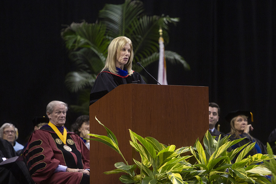 Pamela Perrewé, the Robert O. Lawton Distinguished Professor and Haywood and Betty Taylor Eminent Scholar of Business Administration at FSU, delivered the keynote address at New Student Convocation Sunday, Aug. 25, 2019, at the Donald L. Tucker Civic Center. (FSU Photography Services)