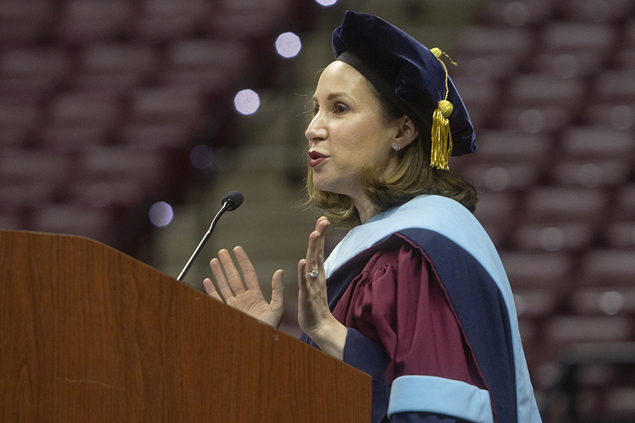 Vice President for Student Affairs Amy Hecht gave remarks at New Student Convocation Sunday, Aug. 25, 2019, at the Donald L. Tucker Civic Center. (FSU Photography Services)